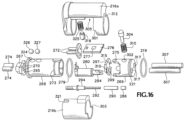 exploded view from patent continuation  showing solenoid